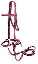 PINK/BLACK Braided Nylon Bit Less Bridle With Reins! NEW HORSE TACK!