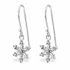 925 Sterling Silver Snowflake Earrings cute drop dangle hook boxed
