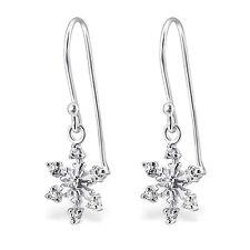 925 Sterling Silver Snowflake Earrings cute drop dangle hook boxed