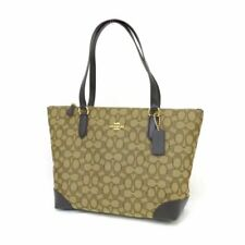 NWT Coach F29958 Signature Jacquard Zip Tote Bag Purse Gold Khaki Brown $250