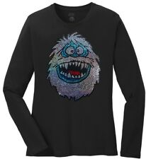 Women's Abominable Snowman Christmas Ladies Bling Long Sleeve T-Shirt S-4Xl