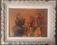 Cubisme XXe Tableau Peinture Cubiste Femmes assises Huile sur carton signé c1950