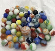 Lot 62 Vintage Glass Marbles Opaque Solid Color 2 & 3 Color Etc