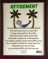 Retirement Plaque Adult Only Gag gift, Joke with Framed funny sign