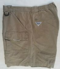 COLUMBIA MEN'S PERFORMANCE FISHING GEAR PFG KHAKI CARGO Shorts LARGE 7L