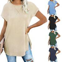 Women Girl Crewneck Short Sleeve Tunic Tops Side Split Plain Loose Blouse Tops F