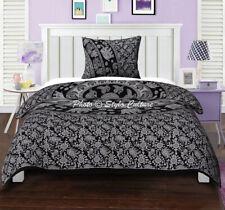 Mandala Quilt Cover Black Twin Cotton Printed Indian Boho Duvet Cover Elephant
