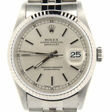 Rolex Datejust Mens Stainless Steel Watch 18K White Gold Bezel Silver Dial 16234