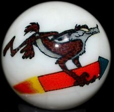 """ART GLASS MARBLE/.987""""LOONEY TUNES WILE E. COYOTE-WHITE-CHERRY,TEAL,GOLDENROD++"""