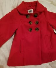 Old Navy Baby Infant Girl Red Pea Coat 12-18 Months Jacket Buttons Patton Warm