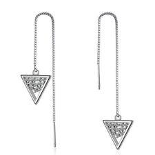 Fine Solid 925 Sterling Silver Zircon Triangle Tassel Stud Dangle Earrings