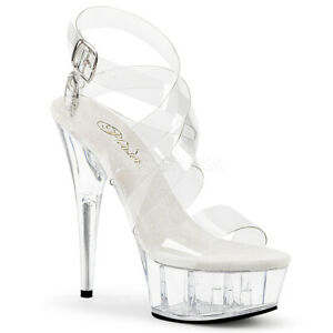 """Pleaser 6"""" clear strappy exotic dancer sandals"""