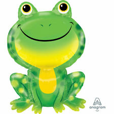"""Green Frog 30"""" SuperShape Foil Balloon Mr Froggy Big Animal Party Decoration"""