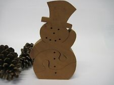 Chunky Snowman Scroll Saw Puzzle Xmas Winter Handmade Wooden Stained 3 Pieces