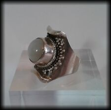 Vintage Men's 925 Solid Sterling Silver and Moonstone Large, Unusual Chunky Ring
