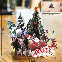 Handmade 3D fold Merry Christmas Greeting Holiday Cards Best New Gift Xmas O1Z1