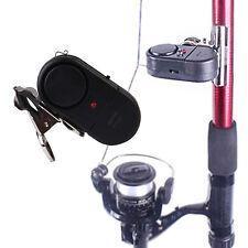Electronic Black LED Light Fish Bite Sound Alarm Alert Bell Clip On Fishing Rod
