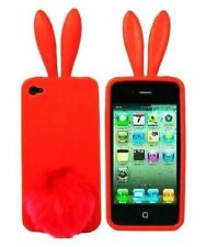 Silicone Skin Case for iPhone 4 / 4S - Red Bunny with Tail Stand