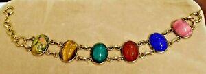 Vintage Gold Filled Multi Stone Scarab Bracelet
