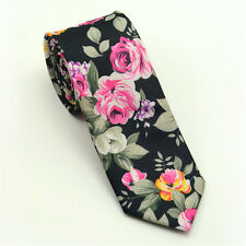 Men's Fashion Cotton Flower Skinny Groom Party Necktie Floral Ties Wedding Gift