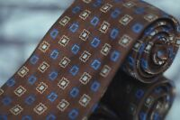 Jos A Bank Men's Tie Brown Gold & Blue Geometric Woven Silk Necktie