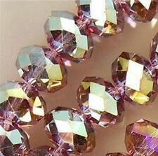 200PC Purple Multicolor Crystal Faceted Gems Loose Beads 6*8mm
