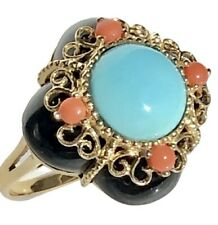 14K Yellow Gold Turquoise Cabochon Carved Onyx Coral Quatrefoil Cocktail Ring
