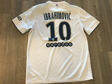 Zlatan Ibrahimovic PSG White Nike Soccer Jersey Size L Galaxy Man United