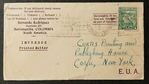 Vintage Philatelic Cover Barranquilla Colombia to Corfu New York