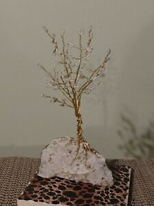 NEW french beaded flower handmade tree nodule tree rock glass beads white beads