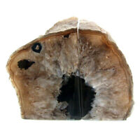 Brown Agate Bookend Set Large Polished Geode with Quartz Crystal 1442kg 14cm