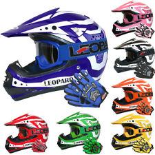 LEPARD LEO-X17 Casco Motocross Bambino Casco Moto QUAD ATV + Guanti Occhiali