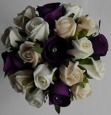 Brides Crystal Diamante Wedding Purple Silk Rose Ivory Cream Flower Bouquet