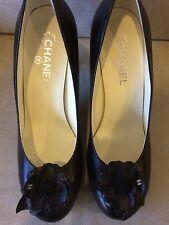 NIB!  Chanel Camellia Flower Black Heels Pump, Size 42, $1025