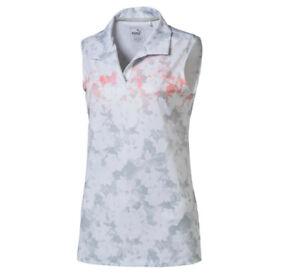 NWT Puma Golf Womens Floral Sleeveless Polo Bright White Pastel You Pick Size