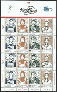 MALAYSIA 2021 FIGHT VIRUS 19 FRONTLINERS HERO FULL SHEET OF 16 STAMPS IN MINT