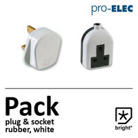 13 Amp Rubber Plug & Socket 13A Heavy Duty Mains Electrical 3pin White