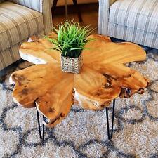 Natural Cedar Wood Slice Slab Coffee Table Live Edge, Hairpin Legs Heavy & Thick