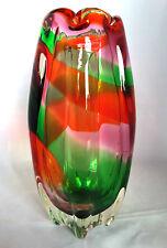 """Sanyu? ~ Japan ~ ~ japonés antiguo ~ Arcoiris ~ Multi-Colour ~ Florero arte vidrio ~ ~ 8.5""""H ~ 1.4 kg"""