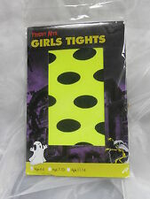 NEW GIRLS NEON YELLOW TIGHTS LARGE BLACK DOTS ALL OVER-FANCY DRESS-HALLOWEEN-