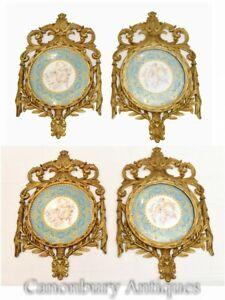 Set Sevres Porcelain Plaques Plates French Gilt Frame