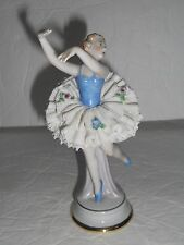 Dresden Lace Porcelain Figurine Germany Ballerina Blue Dress & Shoes Lovely EUC