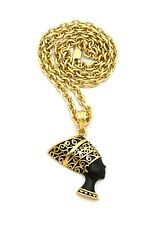"New Egyptian Queen Nefertiti Pendant &18"" Link Chain Hip Hop Necklace - RC2041G"