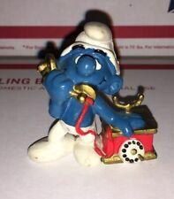 Vintage Smurfs Telephone Smurf Figure Peyo Schleich 1980