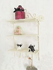 Shabby Chic Metal Wall Shelf Unit Ivory Storage Display Kitchen Bathroom Shelves