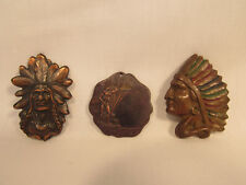Three Vintage Metal Indian Native American Medallions Figurines Figural Pieces