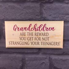 Grandchildren Plaque / Sign - Reward Nanny Grandad Nan Grandma Gift House 511