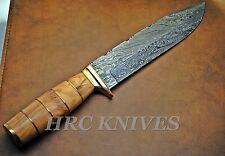 "DB11 ~ 12"" USA Custom BOWIE Damascus ELK HUNTER KNIFE W/ LEATHER SHEATH - USA"