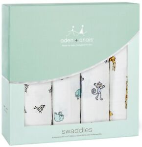 """Aden & Anais Classic Cotton Muslin 47"""" x 47"""" Baby Swaddles Jungle Jam 4 Pack NEW"""