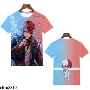 My Hero Academia Todoroki Shoto Pullover T-shirt R-Neck Boys Girls Short Sleeve